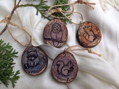 """Woodland Creatures Watercolored 1.5"""" Tree Slice Christmas Ornaments (Set of 4) Owl Raccoon Fox Squirrel on Etsy, $12.00"""