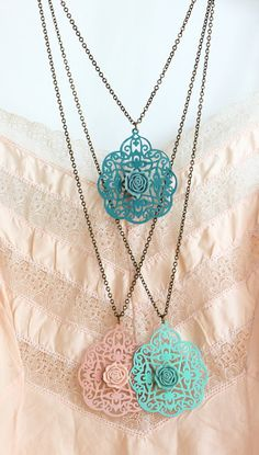 Teal Lacy Necklace Metal Necklace Bohemian by JacarandaDesigns