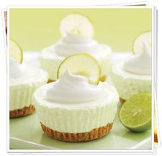 Low Carb Yummies! No Bake Key Lime Cream Cheescakes    Ingredients:  ..  Crust:  ..  1/2 cup almond flour  ...  1/2 cup pecan meal  ...  3 tablespoons granular erythritol  ...  3 drops liquid sucralose  ...  3 tablespoons butter, melted