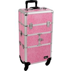 SUNRISE Makeup Case on Wheels 2 in 1 Hair Stylist I3564, 9 Trays with Brush Holder, 4 Wheel Spinner, Locking with 2 Mirrors and Shoulder Strap, Pink Crocodile ** For more information, visit now(This is an affiliate link and I receive a commission for the sales) : Travel accessories