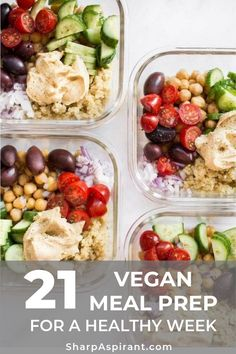 These simple healthy and delicious Mediterranean vegan meal prep bowls have quinoa chickpeas hummus and an assortment of veggies. Easily prepare meals for the week with this recipe! Makes a tasty clean eating lunch or dinner. Vegetarian Meal Prep, Healthy Meal Prep, Healthy Drinks, Healthy Snacks, Vegetarian Recipes, Healthy Recipes, Keto Recipes, Dinner Healthy, Vegetarian Italian