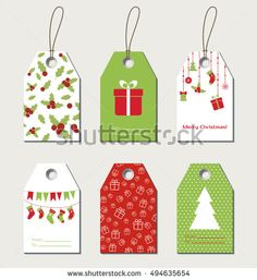 Christmas gift tags. Vector gift labels