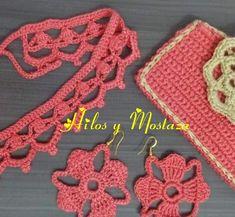 Gargantilla doble de amarrar en crochet, monedero y aretes Crochet Earrings, Jewelry, Coin Purse, Chokers, Stud Earrings, Tejidos, Accessories, Jewlery, Bijoux