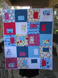 Beach Ball baby quilt with red minky on the back-so soft!