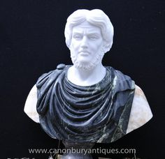 Hand Carved Italian Marble Bust Roman Emperor Titus Atoninus Pius Marble Bust, Roman Emperor, Bronze, Italian Marble, Black Marble, Chiparus, Hand Carved, Carving, Statue