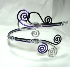 Bracelet, Arm Cuff, Black, Purple, Silver, Aluminum, Wire Wrap, Unique Jewelry by thecuriouscupcake on Etsy