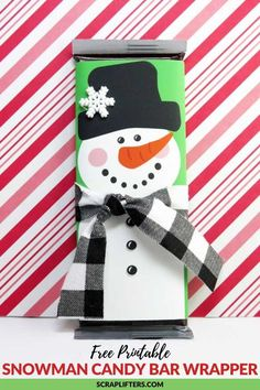 Free Printable Snowman Candy Bar Wrappers – Diy Gifts For Friends Christmas Wrapper, Christmas Candy Bar, Holiday Candy, Christmas Fun, Candy Bar Gifts, Candy Bar Labels, Candy Bar Wrapper Template, Candy Bar Wrappers, Candy Crafts
