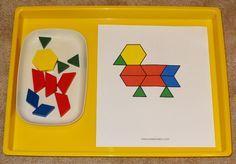 Farm Montessori tray: Making farm animals with pattern blocks    Gift of Curiosity