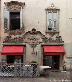 Bar Ristorante Al Volt, Riva del Garda, Lago di Garda, Italy - went here and drank from the biggest wine glasses ever! Restaurant Identity, Restaurant Bar, Storefront Signage, Restaurants, Riva Del Garda, Famous Castles, Italy Holidays, Regions Of Italy, Brick And Mortar