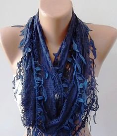 Dark blue lace and Elegance Shawl / Scarf  with Lace by womann, $17.90
