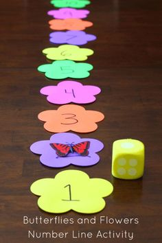 Butterflies and Flowers Number Line Activity. Preschool math fun!