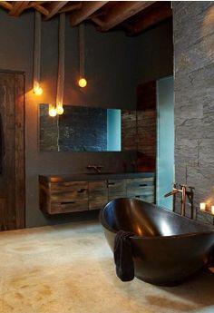 tummat värit, kiviseinä, poikittain peili, kivinen? amme, Brown bath tub #bathroomdesigns