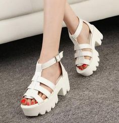 New Summer Lady Strappy Platform Block Heel Chunky Pure Buckle Leather Peep Toe Ankle High Sandals Women Gladiator Shoes - WardoBeat High Sandals, Open Toe Sandals, Cheap Sandals, Gladiator Shoes, Korean Fashion Summer, Korean Summer, Roman Sandals, Platform Block Heels, European Fashion