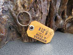 Bull terrier Key ring Genuine leather pet dog key chain 610 Thick Leather, Natural Leather, Leather Keyring, Pet Dogs, Pets, Split Ring, Bull Terrier, Cowhide Leather, Key Rings