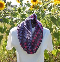 Textured Granny Cluster Cowl Scarf Wildberry Crochet Loop