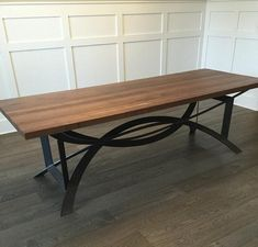 On SALE was 5150 now 3550! This stunning black walnut conference/dining table features a modern architectural steel base that is sure to be