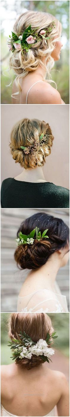 Splendid Wedding Hairstyles » 18 Wedding Updo Hairstyles with Greenery Decorations >> ❤️ See more: www.weddinginclud… The post Wedding Hairstyles » 18 Wedding Updo Hairstyles with Greenery De ..