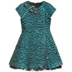 Quis Quis Green Metallic Quilted Dress with Jewels at Childrensalon.com