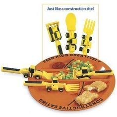 Constructive Eating Utensil & Matching Plate Set: Kids Contruction Themed Dishes