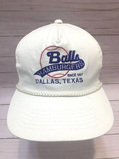 Vintage Ball s Hamburgers Baseball Hat Dallas Tx Slideback Cap 5b4d3b85dde6