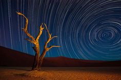 Namibia is not only the least densily populated country of the world, it is also one of the driest. The clear desert air is perfect for shooting stars and star trails, so that's one of the things we always try on each year's Namibia workshop.