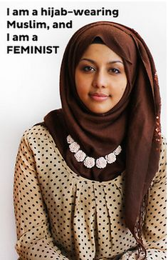 """""""I am a hijab-wearing Muslim, and I am a FEMINIST""""  [follow this link to find a short video and analysis of the straw feminist trope: http://www.thesociologicalcinema.com/1/post/2011/09/tropes-vs-women-6-the-straw-feminist.html]"""