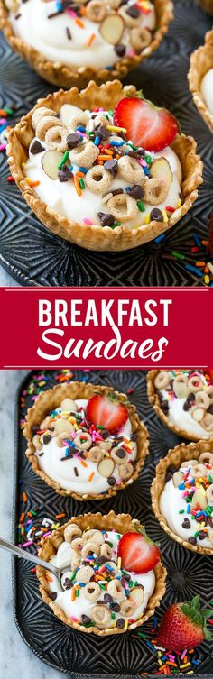 This would make a good Birthday breakfast! This recipe for breakfast sundaes is waffle cone cups layered with fresh fruit, Cheerios™ cereal and yogurt, then finished off with an array of fun toppings. A fun way to make breakfast special! Breakfast Specials, Breakfast Desayunos, How To Make Breakfast, Breakfast For Kids, Fun Breakfast Ideas, Breakfast Cookies, Camping Breakfast Recipes, Kids Birthday Breakfast, Ice Cream For Breakfast