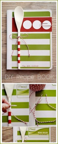 Fun, cute, useful and an affordable Christmas, Birthday, Wedding, Housewarming or Any Occasion Handmade Gift Under 5 Dollars! DIY Family Recipe Book Gift Tutorial | the36thavenue