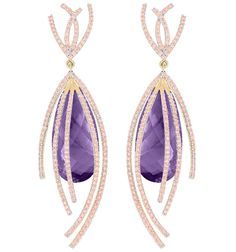 Galaxy collection earrings in recycled 18k Gold with 39.43 cts. t.w. Amethysts and 2.85 cts. t.w. pink Tourmalines by Arya Esha, $7,188