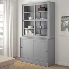 HAVSTA Opbergcombi m vitrineschuifdeuren, grijs, 121x47x212 cm - IKEA