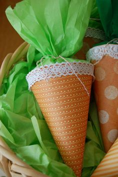 Easter treats- love these cute paper cones!