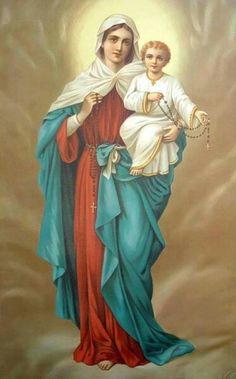 A Catholic Rose : Photo Jesus And Mary Pictures, Mother Mary Images, Images Of Mary, Mary And Jesus, Blessed Mother Mary, Blessed Virgin Mary, Catholic Prayers, Catholic Art, Religious Images