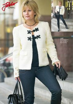 Discover thousands of images about Crochet Chanel jacket. Gilet Crochet, Crochet Jacket, Crochet Cardigan, Knit Crochet, Cardigans Crochet, Crochet Clothes, Crochet Hat For Women, Chanel Jacket, Stylish Jackets