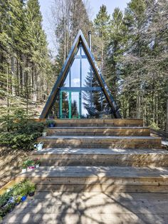 archiweb.cz - chAta Larch Cladding, Small Floor Plans, Interior Staircase, Cabin In The Woods, Roof Window, Construction Cost, A Frame House, Zaha Hadid Architects, Cozy Cabin