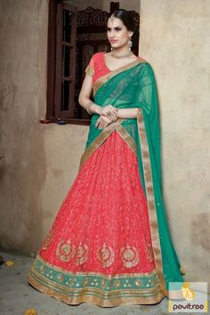 Eye catching red green net lehenga choli online with discount offer online shopping store. It is decked with embroidery patch and golden lace on ghagra choli. #lehengacholi, #Lehengastyle, #navaratrigarbacholi, #chaniyacholi, #ghaghracholi, #weddingbridalcholi, #discountoffer, #festivalcholi, #pavitraafashion, #utsavfashion, #georgettelehengastyle, #netlehengacholi http://www.pavitraa.in/store/lehengha-choli/ callus:917698234040