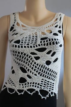 Crochet Tops Ivory Cotton Freeform Crochet Tank Summer top one of a kind Unique Boho Chic Sexy top tank Beach cloth Clothing gift T-shirt Au Crochet, Crochet Tunic Pattern, Mode Crochet, Freeform Crochet, Irish Crochet, Crochet Patterns, Poncho Knitting Patterns, Crochet Ideas, Crochet Tank Tops