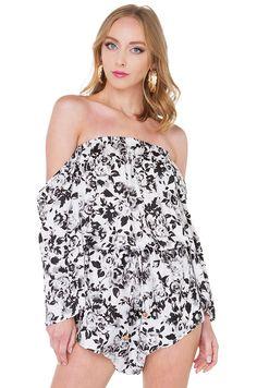 8f417f51cfac Sexy Black White Floral Print Off Shoulder Romper