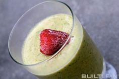Kale smoothie with strawberries from Built Lean