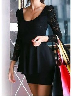 Long Sleeve Peplum Dress- cute cute cute!