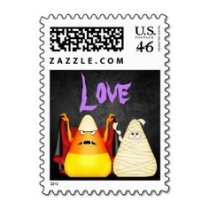 Cute Spooky Halloween Candy Corn LOVE Postage Stamps