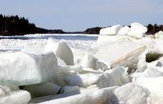 Ice break-up in the Tornio River in Pello in Lapland in spring