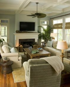 Cozy living room with fireplace decoration. There is nothing that can make your room feel cozier than a fireplace Cozy Family Rooms, Family Room Design, Cozy Living Rooms, Home Living Room, Living Room Decor, Coastal Living, Living Area, Cottage Living, Cozy Cottage