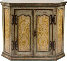Refinish the corner cabinet and do stencil work or fabric on the door panels...