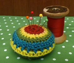 .Crochet Pin Cushion (free pattern) based on circus ball themed bean bags