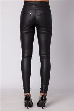 Stacey Black PU High Waisted Jeans at Misspap.co.uk