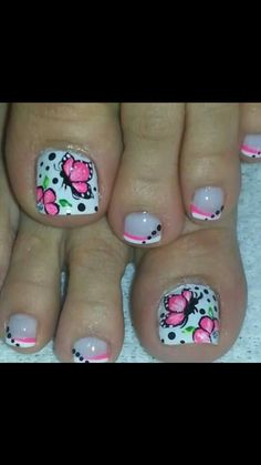 Toenail Art Designs, Pedicure Designs, Pedicure Nail Art, Manicure And Pedicure, Toe Nail Color, Toe Nail Art, Nail Colors, Pretty Toe Nails, Cute Toe Nails