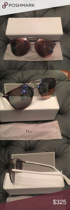 DiorReflected pink mirrored sunglasses 😎 DiorReflected pink mirror pilot frame sunglasses. Join the trend with Kylie Jenner and Rihanna and sport these trendy shades. Frame made with metal and acetate. Light weight and feminine. White arms with cd logo inscribed on temples and silicon nose pads. M2Q0J 52 Dior Accessories Sunglasses