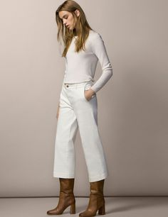 Temptation lives at a click Casual Chic Outfits, Classic Outfits, Fashion Outfits, Jeans Outfit Winter, Fall Winter Outfits, Winter Fashion, Mode Cool, Cropped Wide Leg Jeans, Mode Simple
