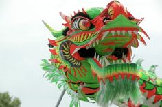 dragon kite with green and red