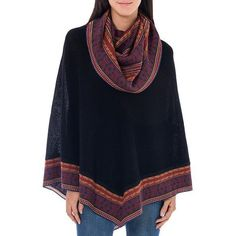 NOVICA Baby Alpaca Cowl Collar Black Poncho from Peru (595 PEN) ❤ liked on Polyvore featuring outerwear, black, clothing & accessories, ponchos, novica and cowl poncho
